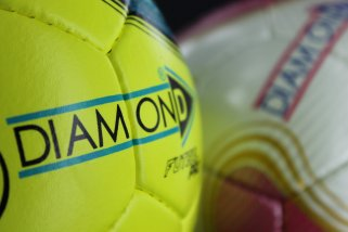 Futsal Diamond Football Yellow and Green Closeup - Logo